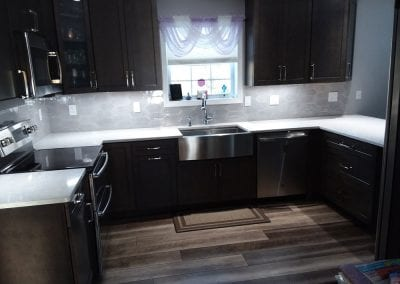 Stone kitchen counter tops and back splash
